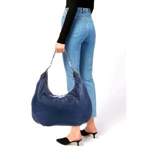 India Hicks Isabella Leather Hobo Bag Blue Large